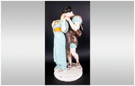 A Large Coloured Late Victorian Plaster Figure Group Of The Lovers, after the Antique. Dressed in