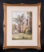 Walter Eastwood B1867 lived in St Annes Watercolour 'A View Of Ludlow Castle' Signed, Label Verso,