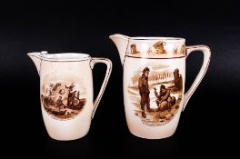 Military Interest, Two Grimwade's Bruce Bairnsfather Water Jugs Depicting 'Old Bill' Cartoons ''Give
