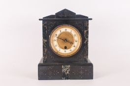 Victorian Granite Mantle Clock with key in working condition. 11'' in height.