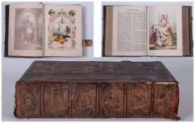 Large Leather Family Bound Volume Of The Pilgrims Progress, By John Bunyan. Printed By Adam and