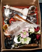 Mixed Lot Of Collectables and Oddments, Comprising Cutlery, Onyx Ashtray, Glass Paperweight,