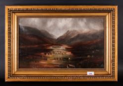 H.C.Fox River Landscape At Dusk, sheep grazing on river bank, oil on canvas, signed., In period gilt