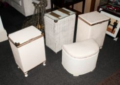Four Vintage Lloyd Loom Linen Baskets. All with Lift Lids Painted Cream.