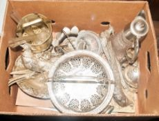 Collection Of Assorted Silver Plated Ware Comprising goblets, peacock figures, claret jug, serving