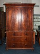 Large Victorian Mahogany Cabinet/Linen Press On Chest, Top Fitted With 3 Sliding Drawers Above Two