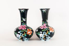 Sheraton Wood & Sons Fine Pair Of Vases designed by Fredrick Rheed Circa 1920's, Floral Decoration