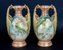 Royal Vienna Alexandra Porcelain Pair of Twin Handle Floral Vases. c.1980's. Each 5.5 Inches High.