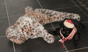 Two Merrythought Teddies Including Sea Lion wearing red & white striped t-shirt & hat & Leopard