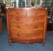 Victorian Mahogany Bow Fronted Chest Of Drawers, 2 Short Over 3 Long Graduated Drawers Between