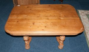 Reproduction Pine Coffee Table In The Continental Style On Four Turned Legs & An Unusual Cross