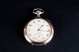 Antique Silver and Rose Gold on Silver Orion - Precision Keyless Open Faced Pocket Watch. Medal