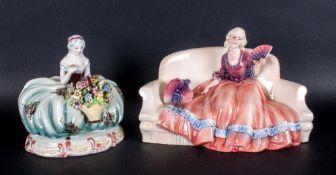 Katzhutte Fine Porcelain Figure. c.1920's ' Lady with Fan ' Clothed In an Orange / Pink Dress,