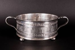 Antique - Quality Silver Plated Circular Two Handle Bowl with Trellis Panels, Borders and Glass