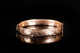 Rolled Gold 1/5 9ct Hinged Bangle The Front With Engraved Scroll Decoration Fully Marked, Weight