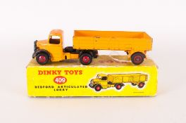 Dinky Toys Diecast Model 409 Bedford Articulated Lorry, Yellow-Orange Body, Complete With Picture