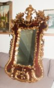 George III Style Large and Impressive Wall Mirror. Highly decorated in gilt borders and floral