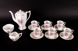 Shelley 1930's 15 Piece Coffee Set ' Warwick Rose ' Pattern Num 2250, Dainty Shape. Pink Roses -