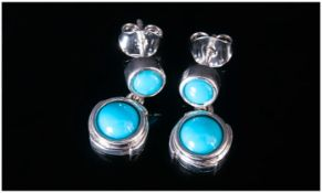 Sleeping Beauty Turquoise Drop Earrings, each earring comprising two round cut turquoise from the