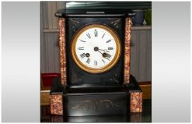 French Japy Freres Mantle Clock, White Enamelled Dial With Roman Numerals, Plain Black Slate/