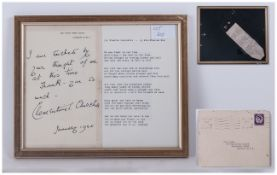 Signed Letter by Clementine Churchill, January 1965 - 28 Hyde Park Gate, Which Says - I Am Touched