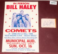 Bill Haley Autograph On Small Page Circa 1960's displayed on board with copy poster.