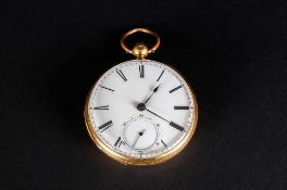 Antique 18ct Gold - Key Wind Open Faced Pocket Watch with White Porcelain Dial and Black Numerals.