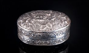 Antique Sterling Silver Embossed Floral Lidded Trinket Box. Marked Sterling Silver. Excellent Order.