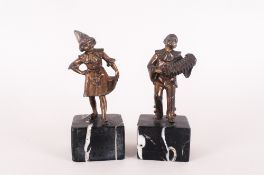 Art Deco Pair of Pierrot & Pierrette Spelter Figures, Raised on Marble Bases. Each Figure 6 Inches