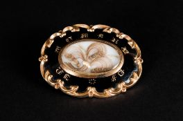 A Fine Quality Early Victorian Large Pinchbeck and Enamel Mourning Brooch / Locket with Shaped