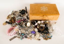 Gold Coloured Jewellery Box Containing A Collection Of Costume To Include Necklaces, Rings,