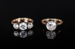 A Single CZ Facetted Stone Set In A 9ct Gold Shank est 2.5cts, fully hallmarked. Plus a 3 faceted