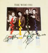 The Who Autograph On UK Tour Programme 1981 Signed Daltrey, Kenney Jones & Pete Townshead