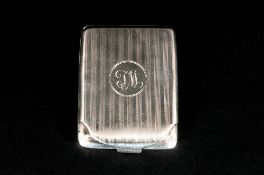 Mappin & Webb Silver Cased and Hinged Card Holder with Regency Stripe Decoration and Flip over