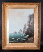 Allan (Probably Robert Weir Allan 1852-1942) Scottish Coastal Landscape With Pyramid Style Rocks Off