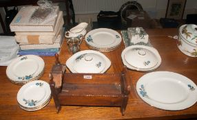 Box Of Miscellaneous Comprising Part Dinner Set, Wooden Rocking Crib, Wedgwood Plated etc.