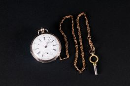 Swiss Silver Key-wind Open Faced Pocket Watch with White Porcelain Dial, Secondary Dial with