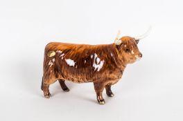 Beswick Animal Figure ' Highland Cow ' Gloss. Model Num.1740. Issued 1961 - Designer A.