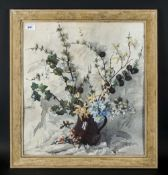 Phyllis Hibbert (1903-71) Still Life Watercolour, pale blue primulas and yellow honeysuckle with