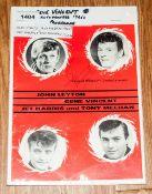 Pop Autograph Gene Vincent Jet Harris & Tony Meehan On UK Tour Programme 1960's