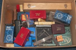 Box Containing A Collection Of Engineering Tools, Mostly Measuring, To Include Gauges, Mercer Dial