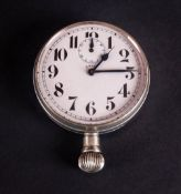 Antique Swiss Coliath Nickel Plated Dashboard Eight Day Pocket Watch With upside down dial, white