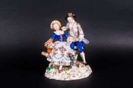 Sitzendorf Late 19th Century Fine Hand Painted Group Figure. Highly Detailed Piece. Features a