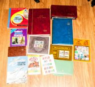 Rucksack Of Schoolboy Type Stamp Albums, some covers, presentation packs and loose.