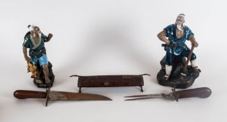 Two Japanese Oriental Figures Together With A Carved Oriental Carving Set