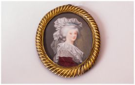 19thC Portrait Miniature Depicting A Noble Lady, Wearing A Burgundy Dress, Lace Fichu and White