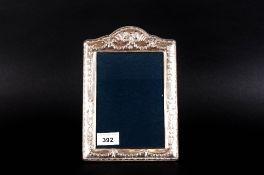 Modern Silver Photo Frame Blue Velvet Back With Strut. Height 9½ Inches