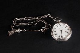 Victorian Silver Ornate Cased Open Faced Pocket Watch With White Porcelain Dial Hallmarked London
