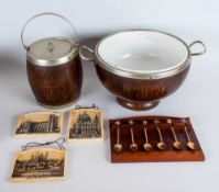 Mixed Lot Comprising Oak Ceramic Lined EPNS Ice Bucket & Bowl, 3 Plaques Depicting London