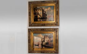 P.Maurice French Artist Pair Of Oil On Board, Scenes From The Grand Canal, Venice, Each signed &